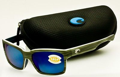 4a7d4b5b67 COSTA DEL MAR Playa-Matte Silver Teak-White-Blue w Blue Mirror 580P  Polarized