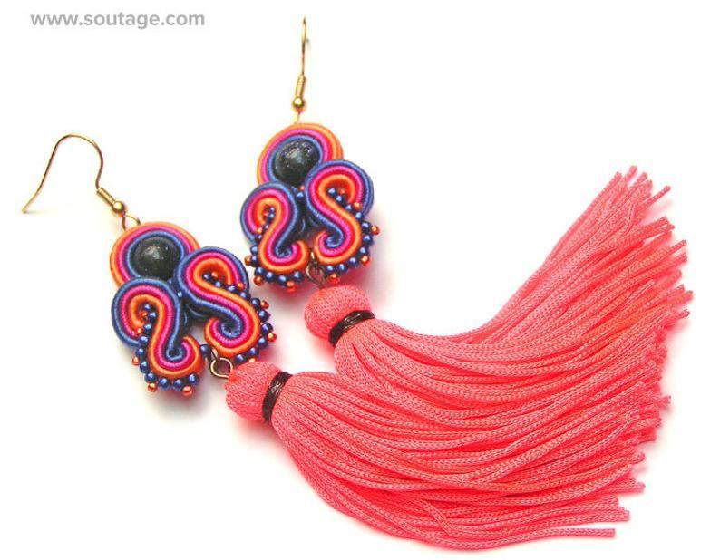 Jasper Dragon Soutache earrings Very long earrings Tassel earrings Orange earrings Boho earrings Red earrings Statement earrings