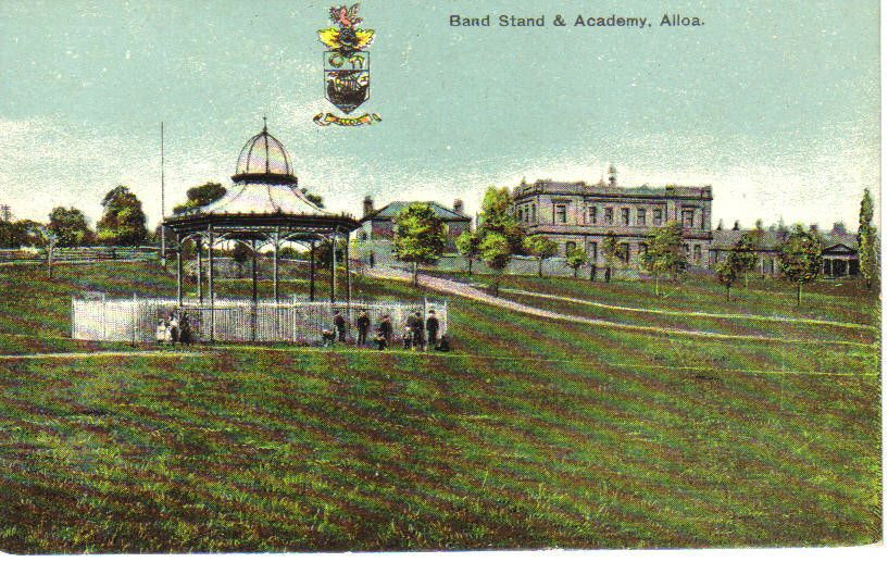 A Vintage postcard of the bandstand. Aloa, Scotland