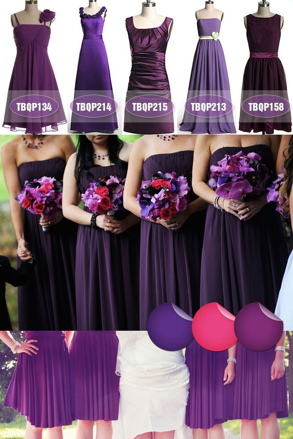 Fall Wedding Colors - Deep Purple Bridesmaid Dresses 2013 I really like these shades of purple...but which one would be good with the red?