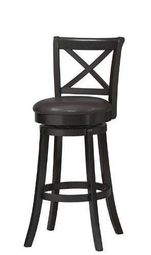 X Back 30 In Wood Swivel Bar Stool By Linon 223 55 Sturdy
