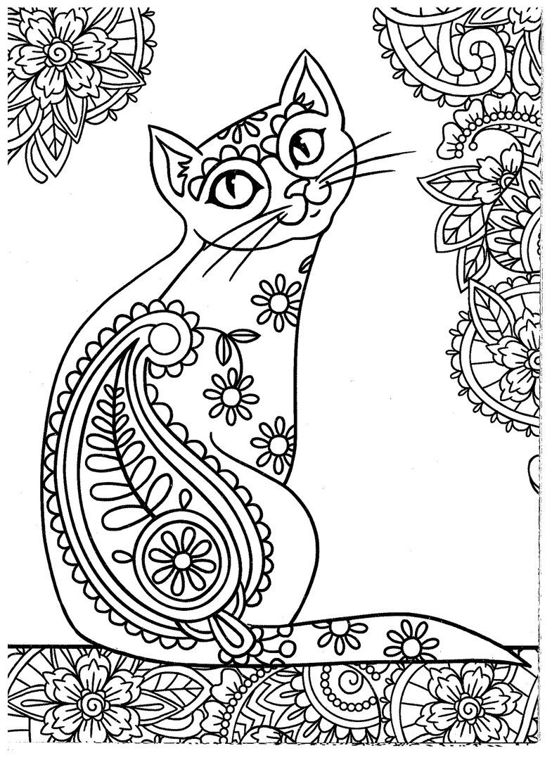 Coloring pages adults cat ~ Cat coloring page | Animal coloring pages, Bird coloring ...