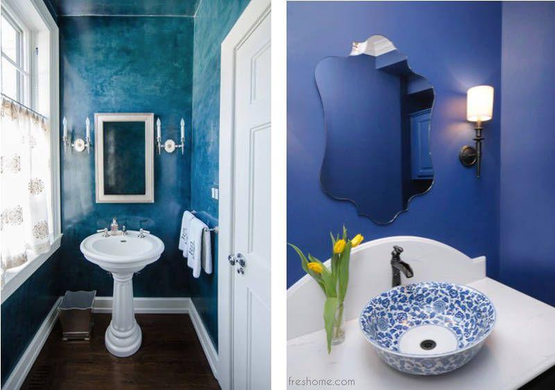 Blue Powder Room Ideas And Half Bath Decor Small Half Baths
