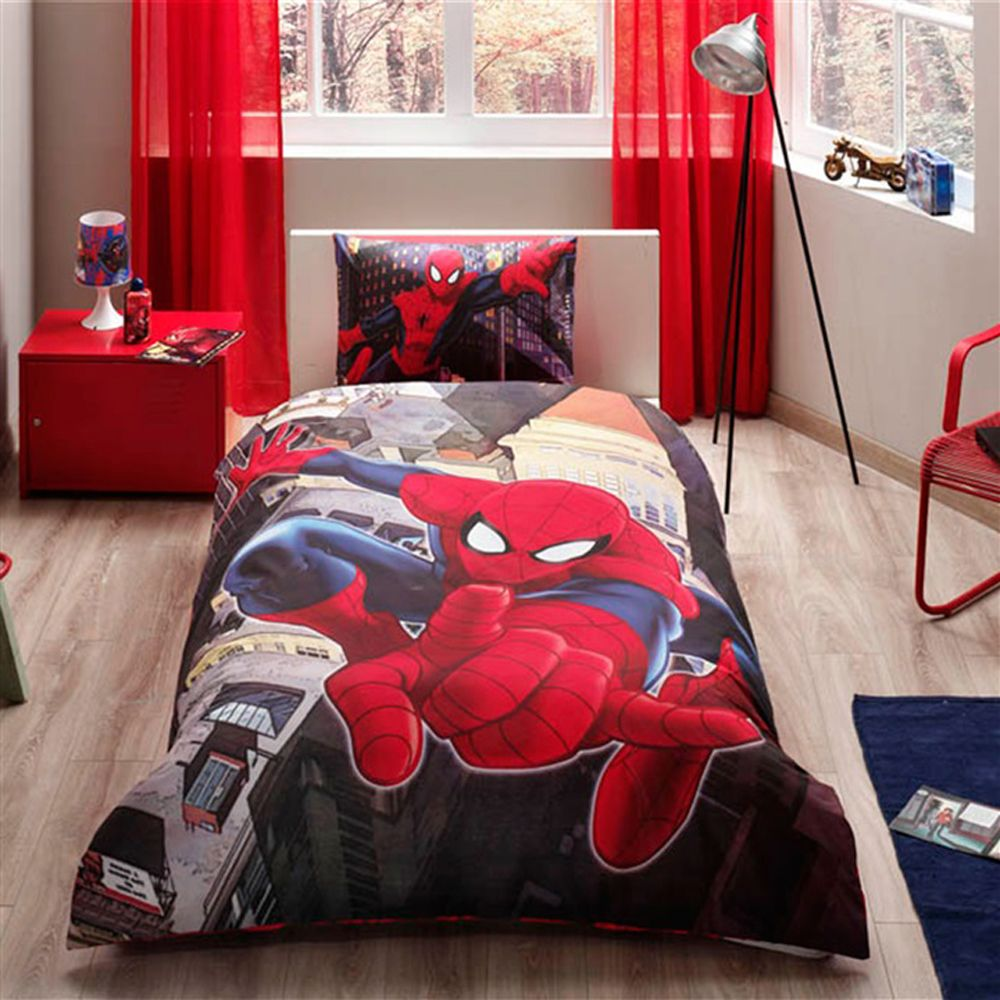 Spiderman Comforter Set Boys Teens Bedroom Marvel Comics Universe