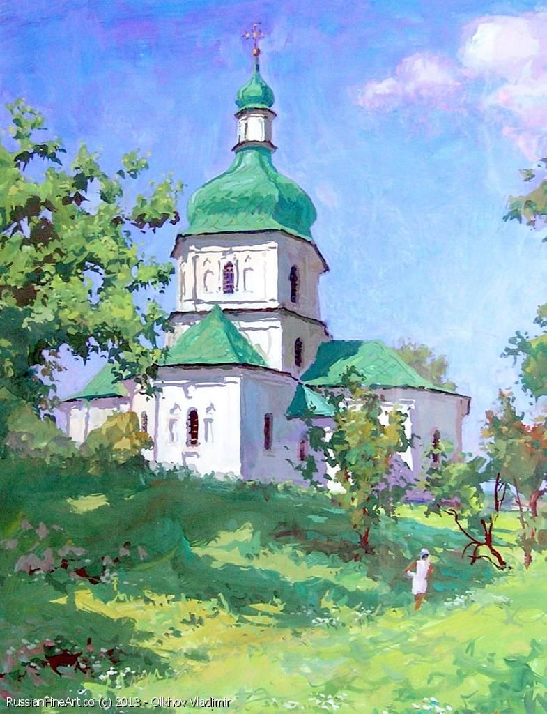 """Summer. Noon At Sednevo"" - gouache, tempera. http://www.russianfineart.co/catalog/prod.php?productid=19381 Artist: Olkhov Vladimir"