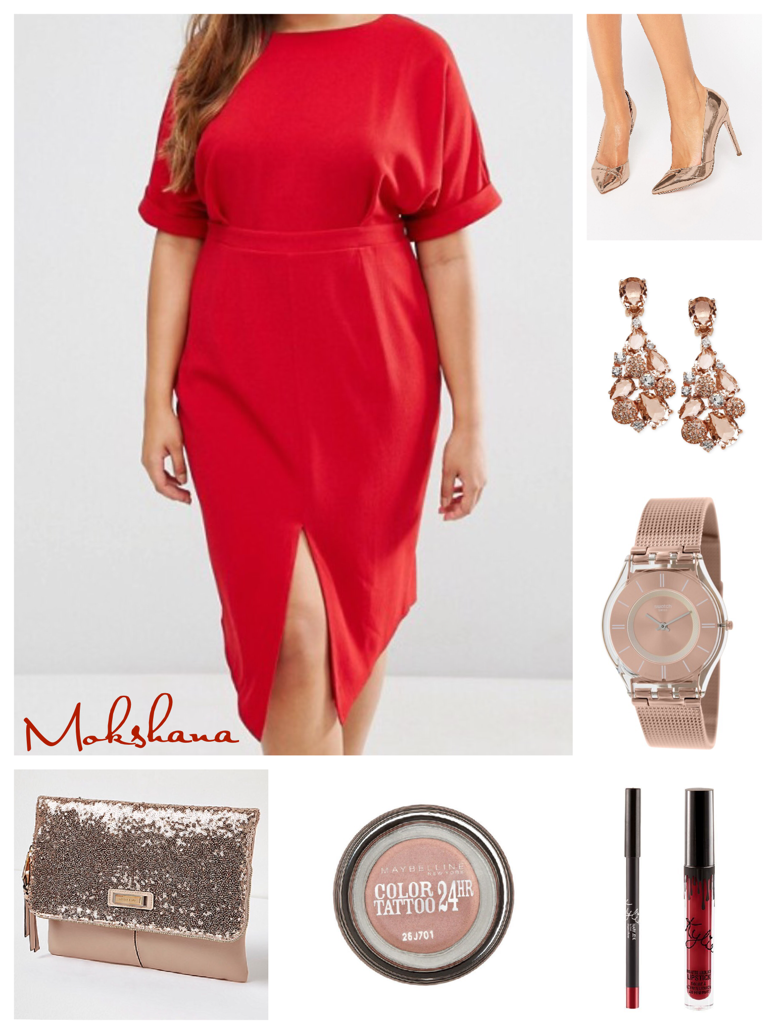 fb471837a0 Rose gold accessories with a bright red dress | Outfits | Dresses ...