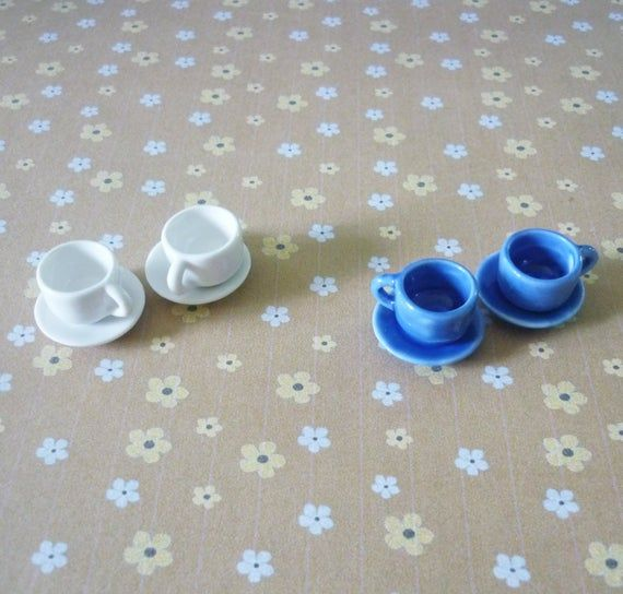 2 Blue tea cups Miniature tea cup /Tiny tea cup /ceramic /Miniature kitchen/ Dollhouse miniatures/ Fake kitchen #miniaturekitchen