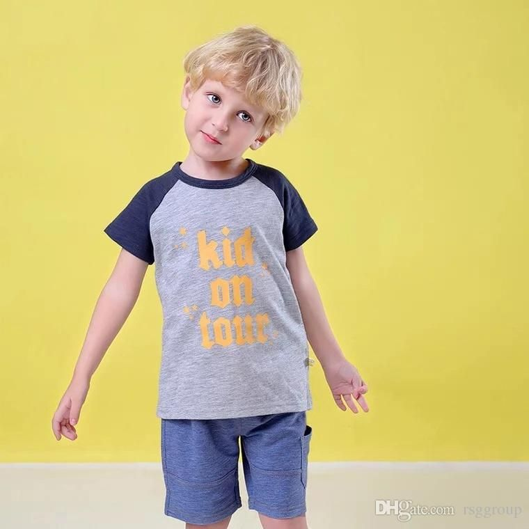 dca12dc36 INS Contrast Summer Casual Children Boys Designer Clothing Outfit Cartton  Fox Letters Short Sleeved Tees Embroidery