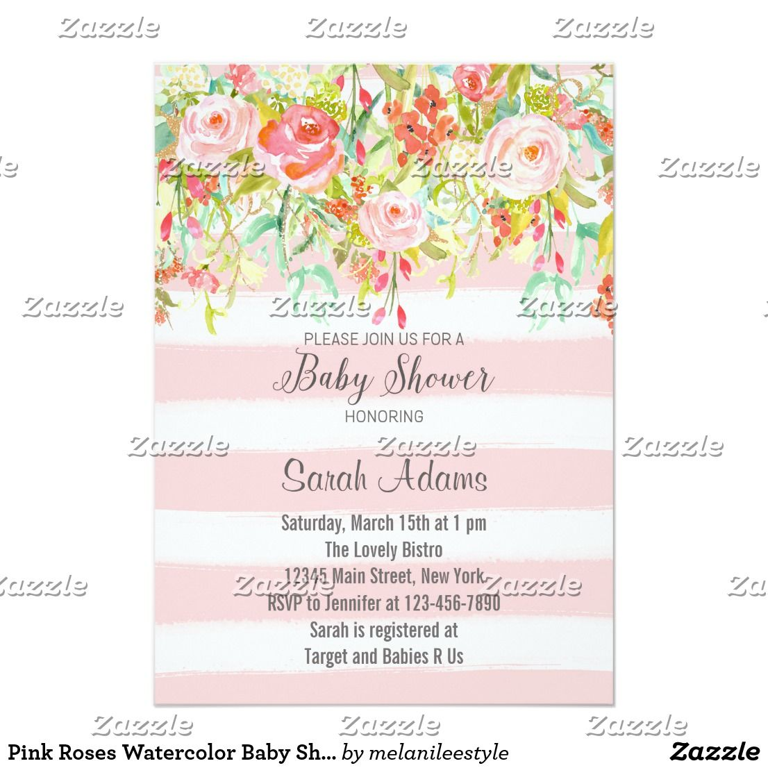 Pink roses watercolor baby shower invitation invitations baby