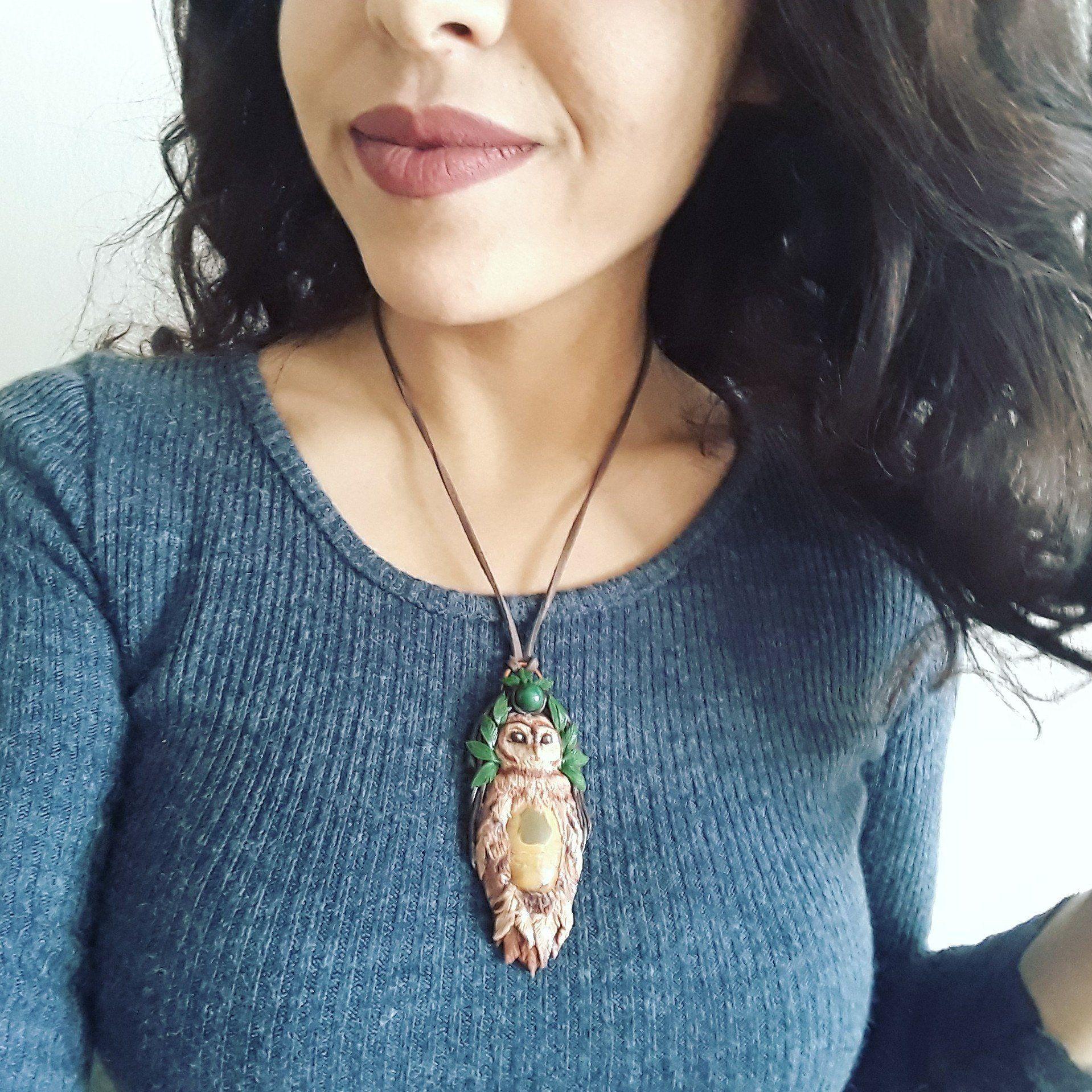 Celtic jewelry Owl Totem Owl necklace Owl spirit animal Spirit animal Owl pendant Shaman necklace Polymer clay animal Totem