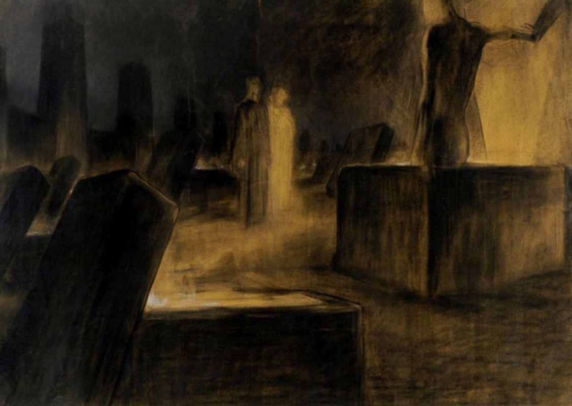 Inferno's, Canto X: Farinata e Cavalcante. Italian and english. Duilio Cambellotti, undated.