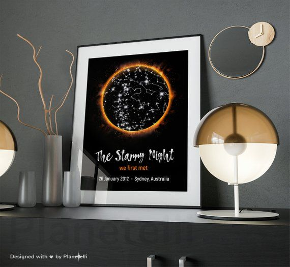 Gifts For Wedding Night: Personalized DIGITAL Night Sky Map, Anniversary Gift