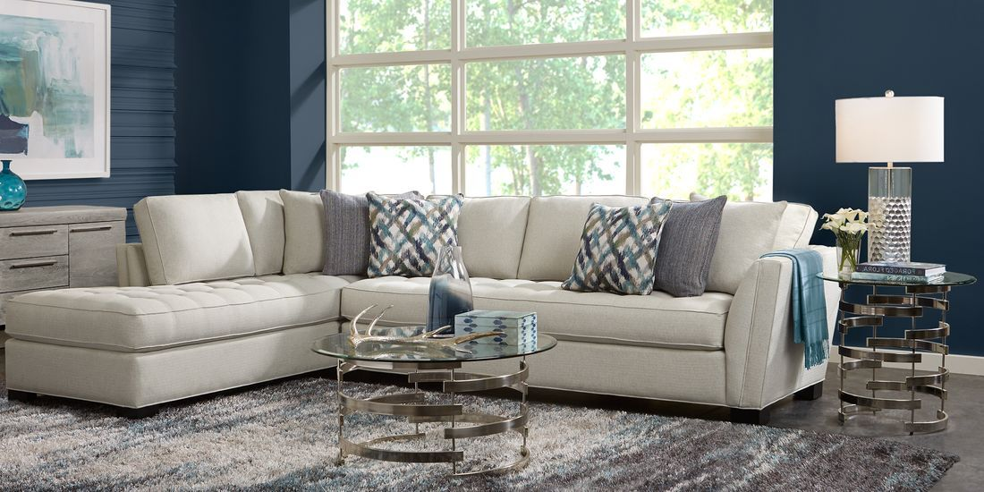 Cindy Crawford Home Calvin Heights Oatmeal Textured 2 Pc Xl Sectional Living Room Sets Furniture Living Room Sectional Living Room Leather #oatmeal #sofa #living #room #ideas