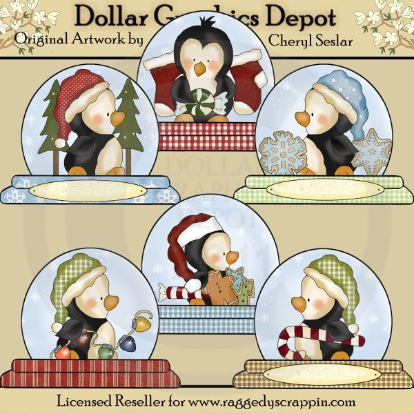Thanksgiving Snow Globe Clip Art | Penguin Snow Globes - $1.00 : Dollar Graphics Depot, Quality Graphics ...