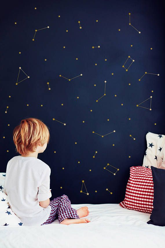 Constellation Wall Decal Zodiac Astronomy Stickers Gold Etsy In 2020 Outer Space Nursery Kids Bedroom Decor Constellation Wall Decal