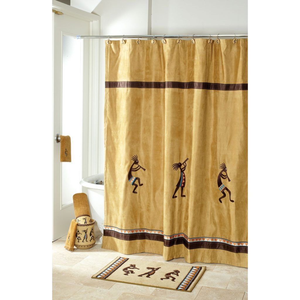 Avanti Linens Kokopelli Shower Curtain Gold Shower Curtain