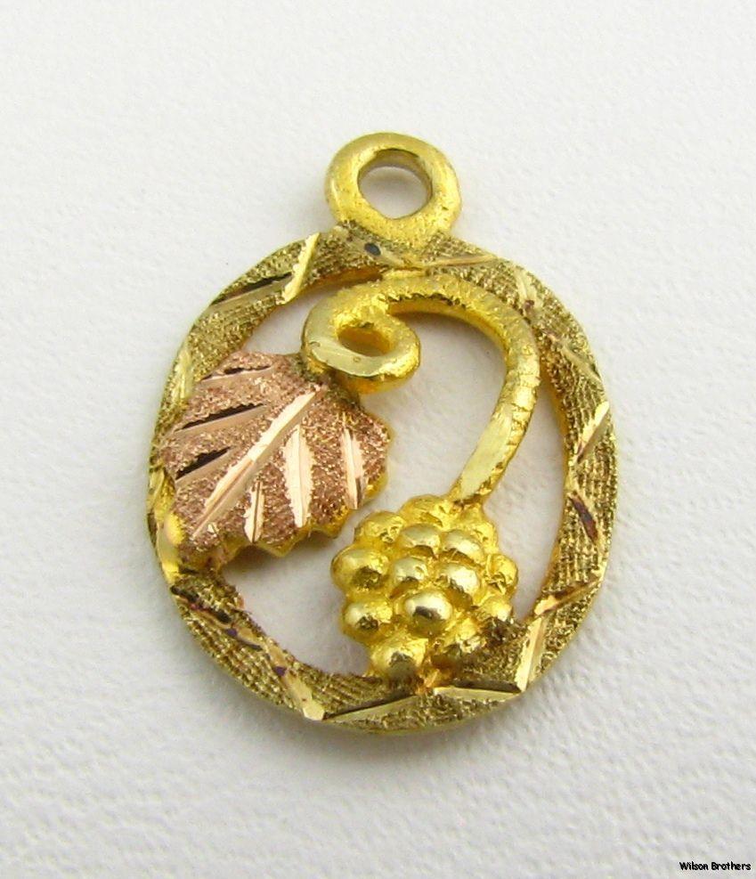 Black hill old pendant k yellow rose gold leaf acorn fashion