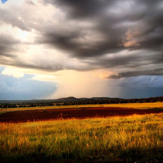 Rainstorm coming though the valley as the sun sets.  ••• Photo art, paintbrush effects.