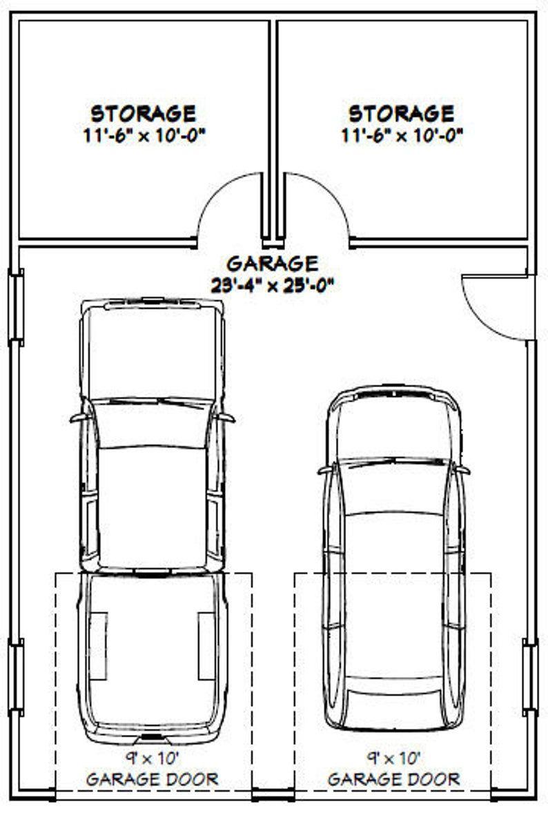 24x36 2 Car Garage 864 Sq Ft Pdf Floor Plan Instant Etsy In 2021 Garage Plans Detached Garage Floor Plans Car Garage