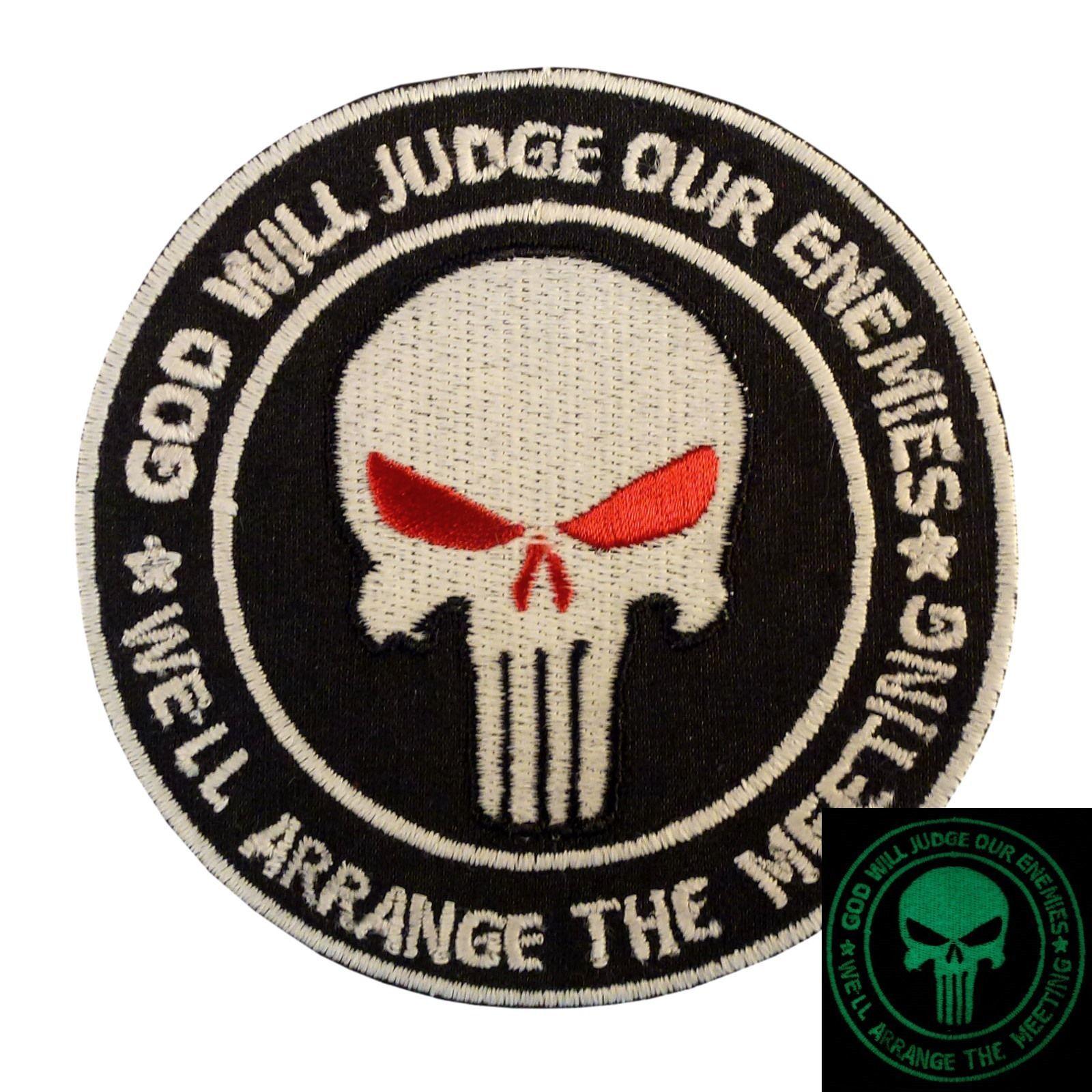 GOD WILL JUDGE OUR ENEMIES punisher PVC DEVGRU GITD glow aufnäher hook patch