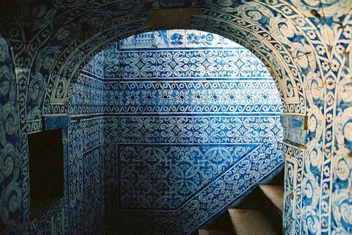 Beautiful blue moroccan tiles tegulas tiles