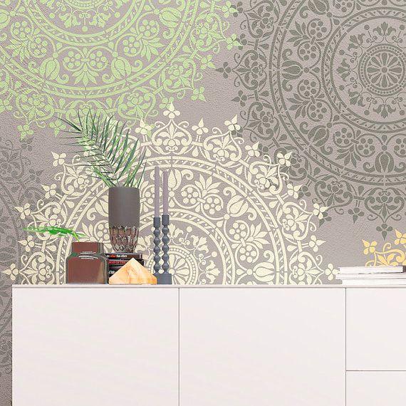 Wand schablone medaillon einzigartiges design schablone yoga studios w nde wandgestaltung - Schablone wandmalerei ...
