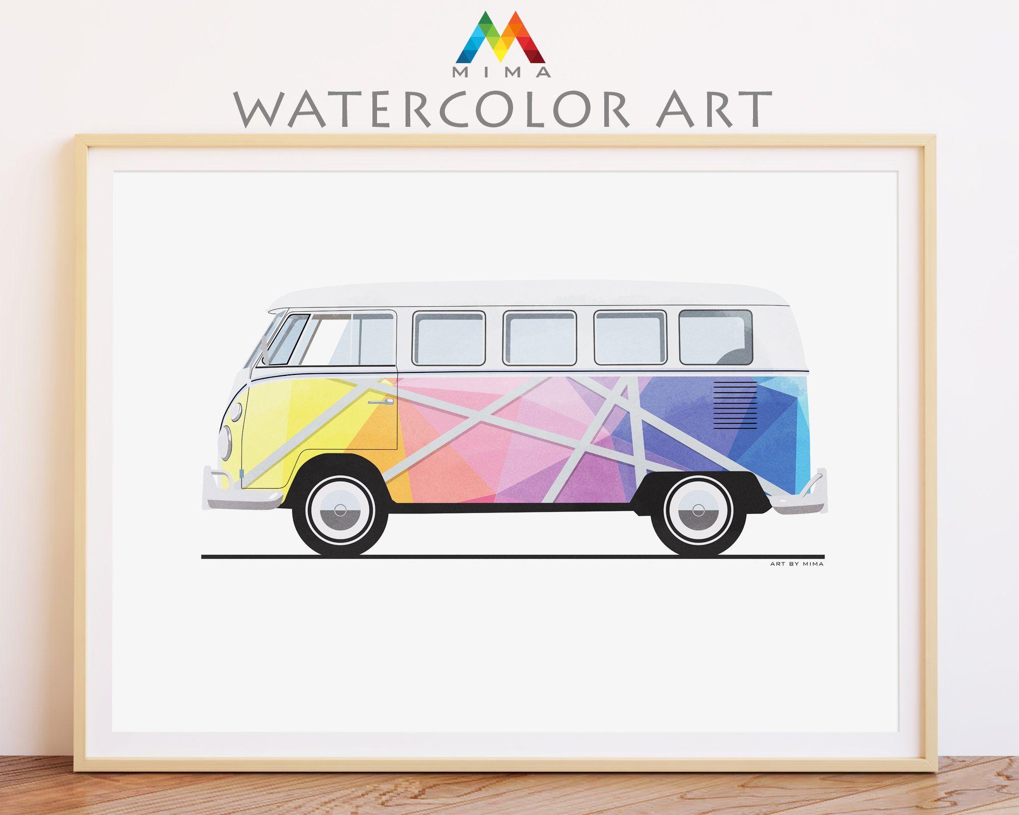 Classic Retro Vw Bus Decor Printable Wall Art Poster Colorful