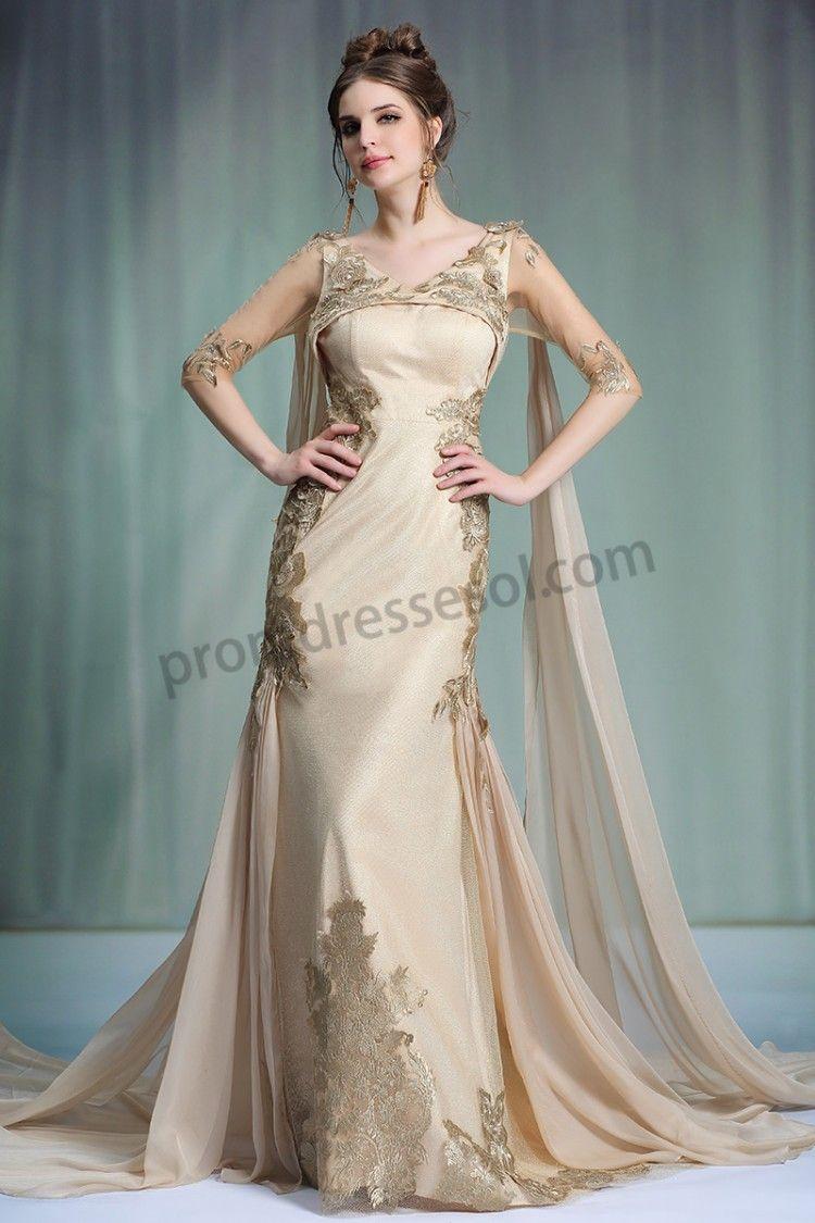 Champagne vneck half sleeves affordable luxurious evening dresses