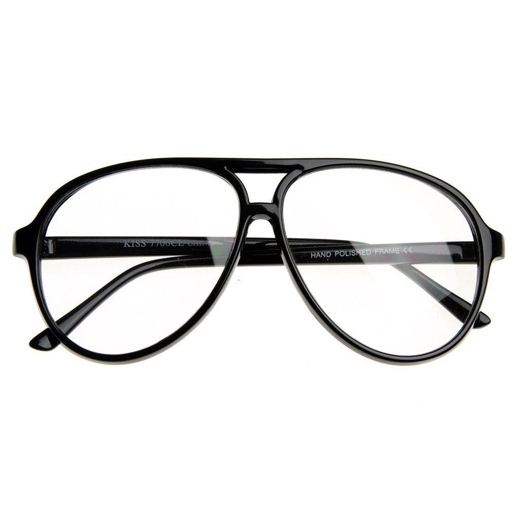 e99cdd6736 80s Retro Classic Vintage Large Bold Tear Drop Clear Lens Aviator Glasses  8062