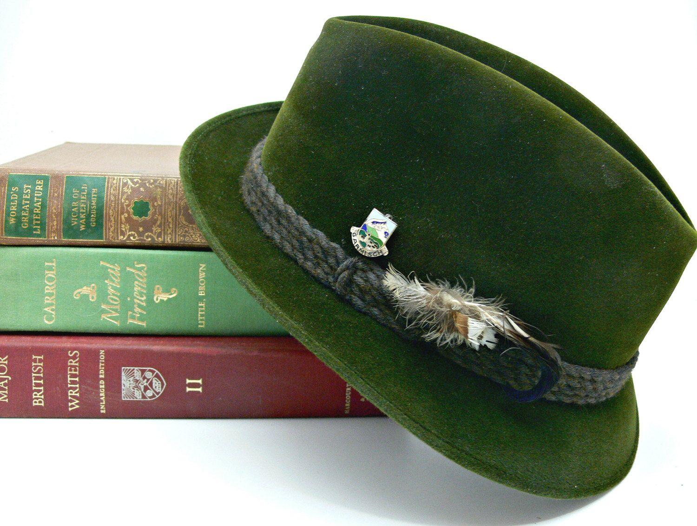 Vintage Men S Hut Maurer Fedora From Bavaria Dark Loden Green Wool Felt German Alpine Hat Garmisch Pin Vintage Men Fedora Green Wool