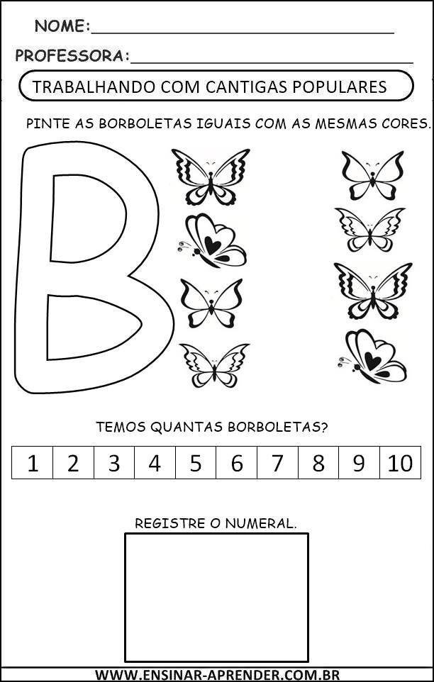 Borboletinha Jpg 612 962 Pixels Com Imagens Atividades Letra B