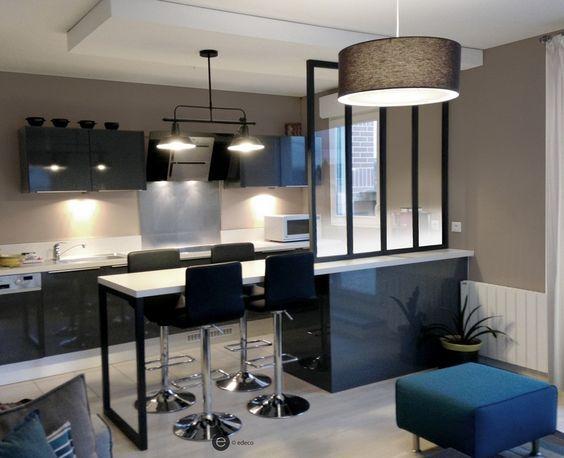 R alisation cuisine ouverte avec verri re et suspension - Deco salon et cuisine ouverte ...