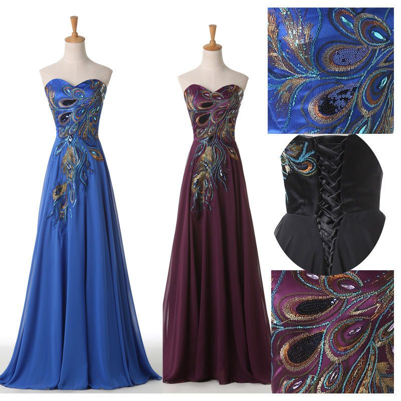 Purple Peacock Victorian Ball Gown Maxi Prom Evening Masquerade