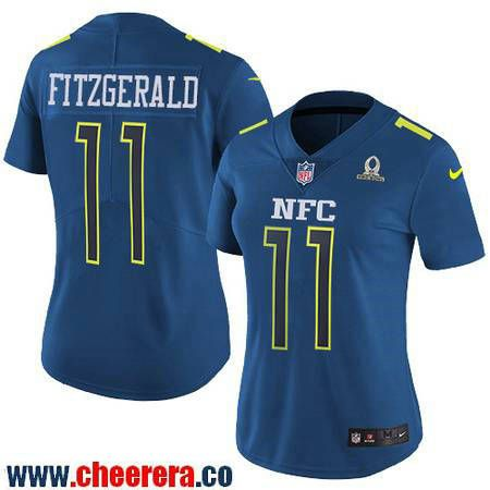Womens Arizona Cardinals 11 Larry Fitzgerald Navy Blue NFC 2017 Pro Bowl  Stitched NFL Nike ... b2a510a69