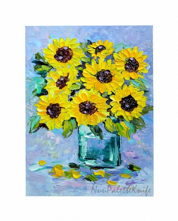 Sunflower Small Oil Painting Yellow Flower Floral Original Mini Art ...