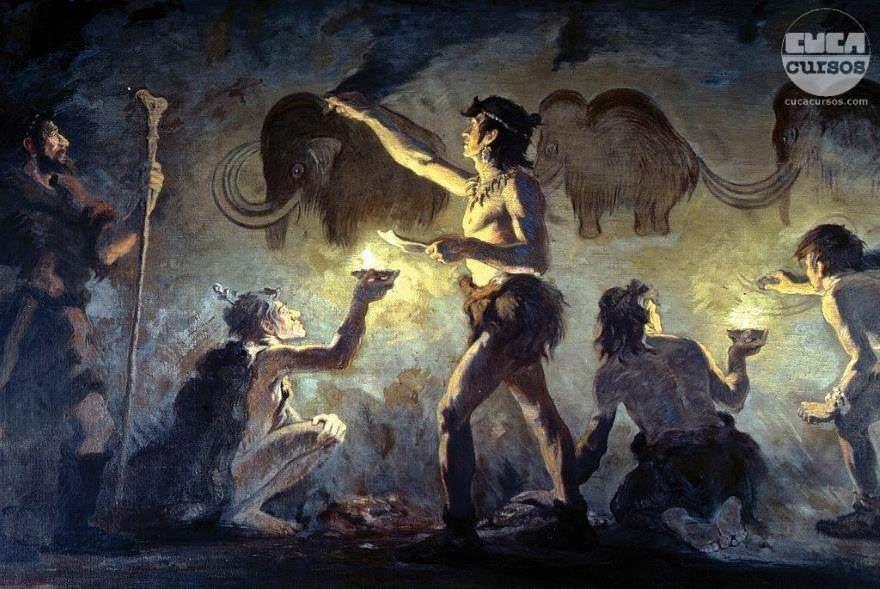 Direito Na Pre Historia Homens Da Caverna Em Desenhando Na Pedra