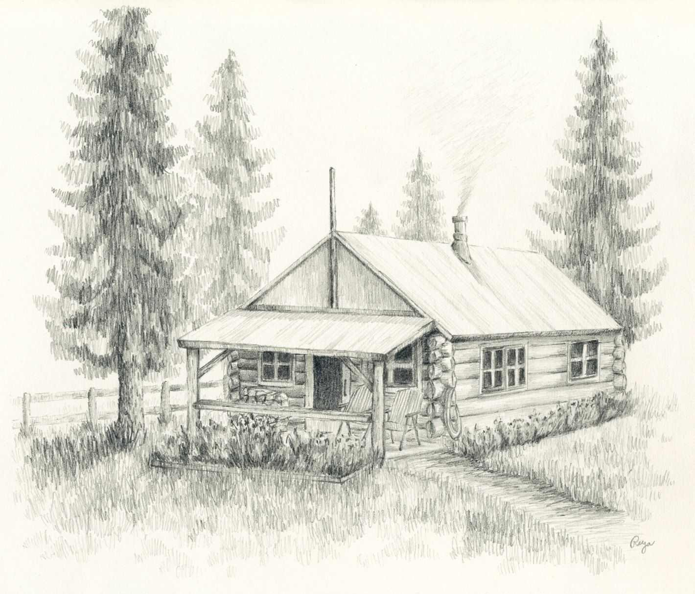 Pencil Drawing Landscape Pencil Drawings Cabin Art Cool Landscapes