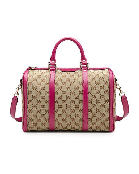 Gucci - Vintage Web Original GG Canvas Boston Medium Bag, Brown/Pink