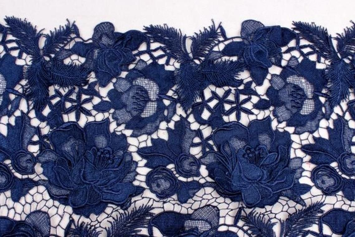Navy Blue Ivory Black Wedding Lace Fabricflowers Embroidered Etsy Lace Fabric Fabric Flowers Lace Weddings