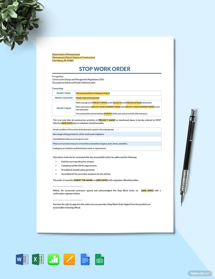 Stop Work Order Template in 2020 Templates, Google