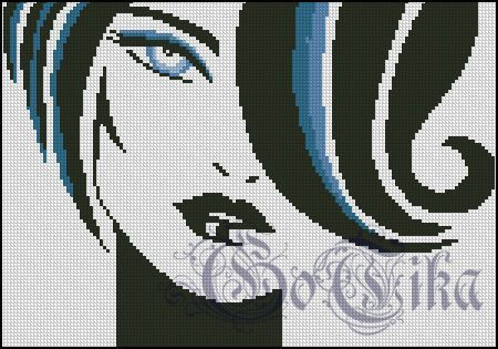 0 point de croix portrait - cross stitch