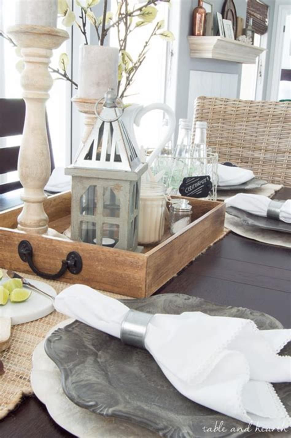 40 Beautiful Farmhouse Style Tray Decor Ideas 28 Farmhouse Table Centerpieces Farmhouse Table Decor Farmhouse Table Setting