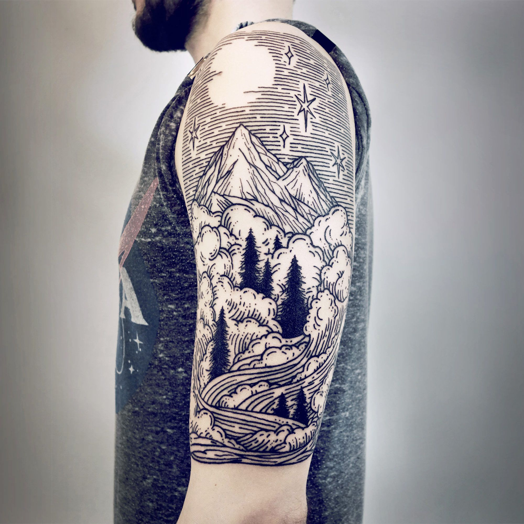 Imaginative Half Sleeve Landscape Tattoos By Lisa Orth Quarter Sleeve Tattoos Half Sleeve Tattoo Woodcut Tattoo