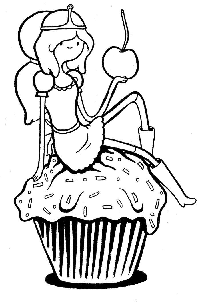 adventure time princess bubblegum with cake coloring pages