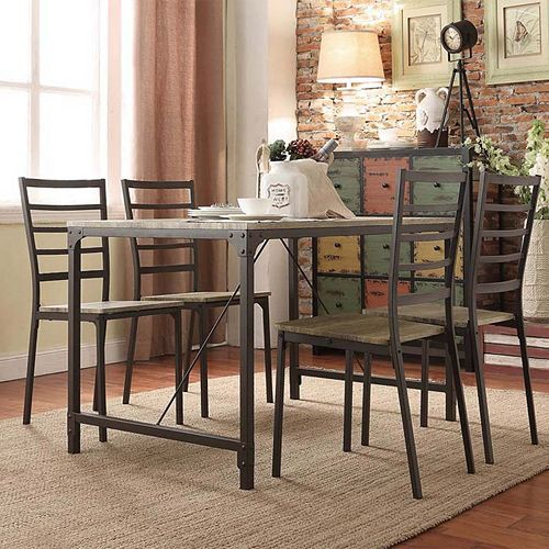 HomeVance 5 Piece Donovan Industrial Dining Set
