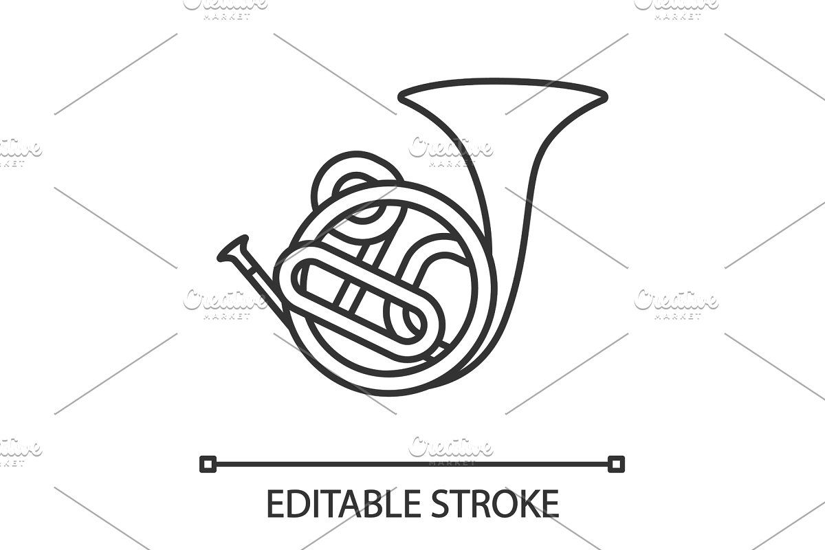 French Horn Glyph Icon In 2020 Glyph Icon French Horn Line Illustration