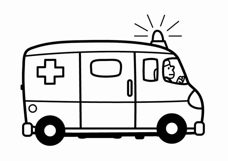 Coloring page ambulance | Daycare | Pinterest | Ambulance, Coloring ...