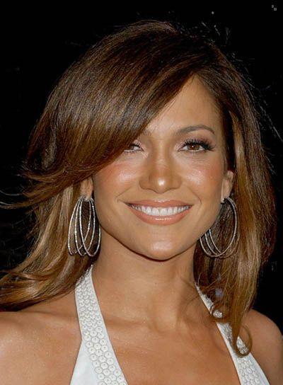 jennifer lopez hairstyles | Jennifer Lopez Straight Hairstyle with Long, Sideswept Bangs - Beauty ...