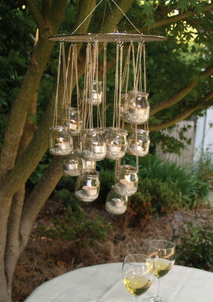 Photo of 90 Do-it-yourself-Ideen für eine sommerliche Atmosphäre im Garten Gartenideen beleuchten Kronleuchter-Einmachgläser