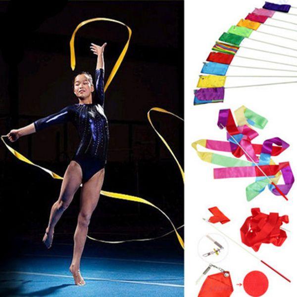 Gym Dance Ribbon Rhythmic Art Gymnastics Ballet Streamer Twirling Wand 4M